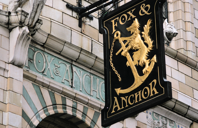 Fox and Anchor tiling and sign