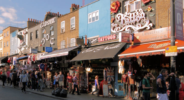 Camden High Street in afternoon sunshine
