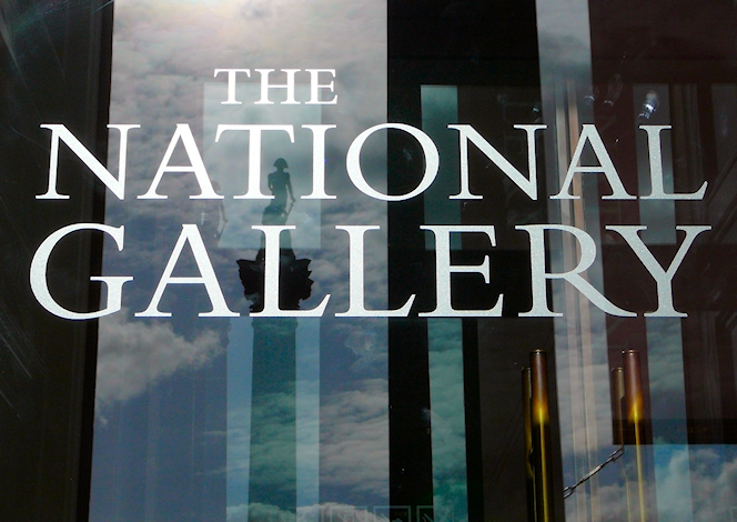 National Gallery door with reflection of Nelson's Column