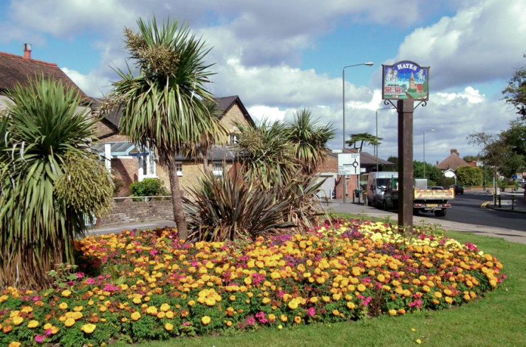 Hayes Village Sign and Flower Bed