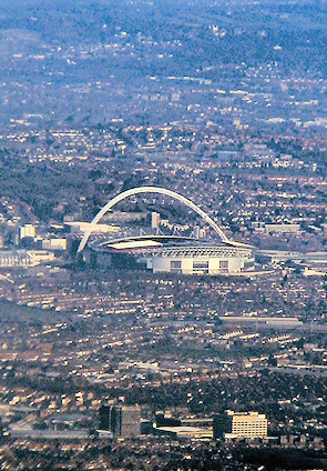 Wembley Stadium and its surroundings, seen from the air