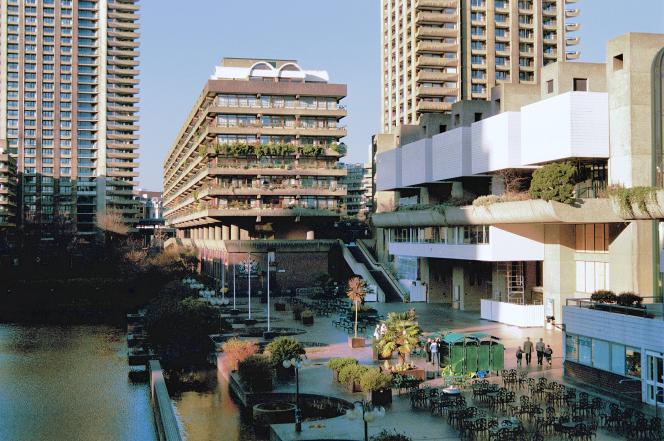 Barbican lake and arts centre with flats behind