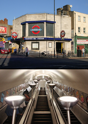 Tooting Bec station entrance and escalators*