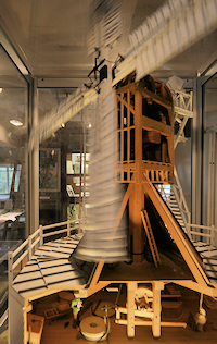 Detailed model of Wimbledon windmill with revolving sails