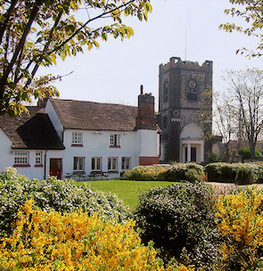 Dagenham village, with the parish church and the Cross Keys