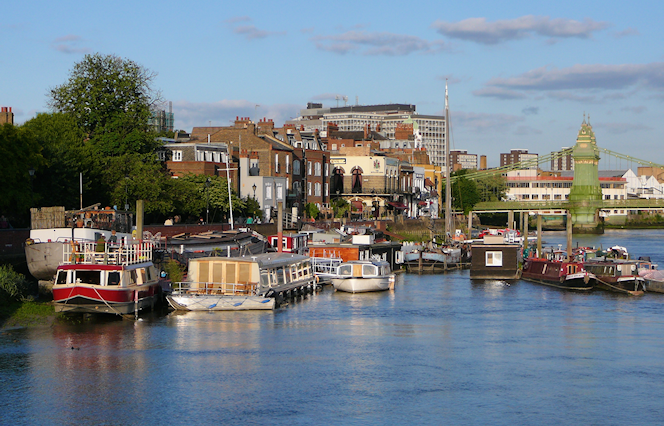 Hammersmith riverside, seen on a sunny summer afternoon
