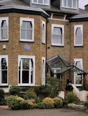 Southernhay, with a blue plaque for Enid Blyton