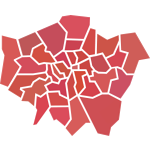 Hidden London - angular graphic showing London boroughs
