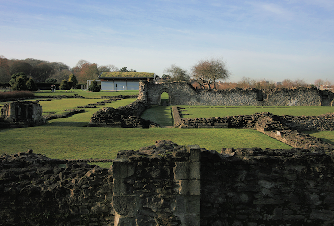 Lesnes Abbey ruins with an artist's impression of the abbey on mouseover
