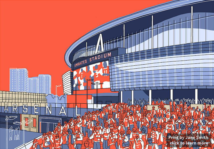 Arsenal, Emirates Stadium, © Jane Smith, click to learn more on Etsy