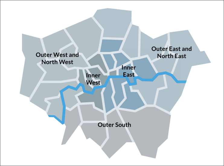 Map Outer London.London Boroughs Map Hidden London