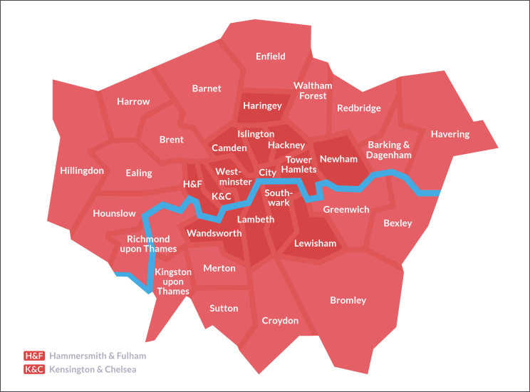 Map of Greater London and its borough boundaries, labelled with the name of each borough