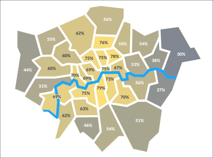 EU Referendum remain voting by borough