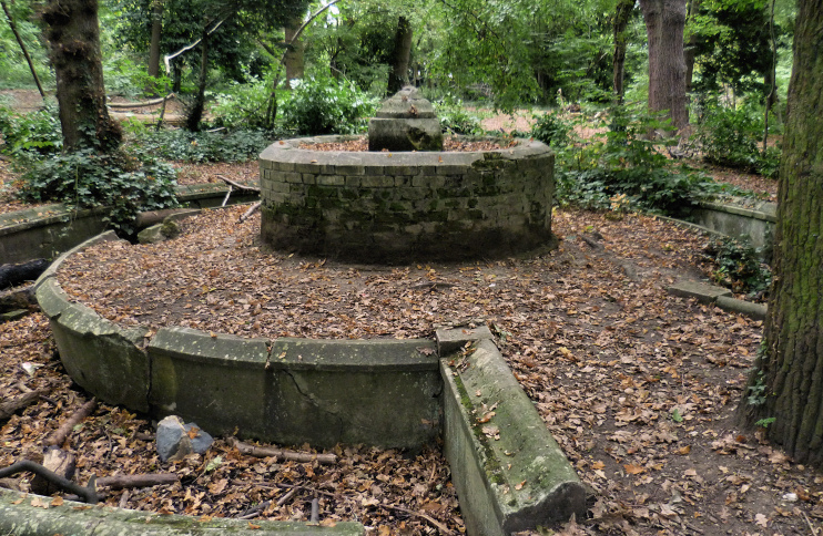 The remains of the fountain in South Hill Wood, Shortlands, copyright Marathon