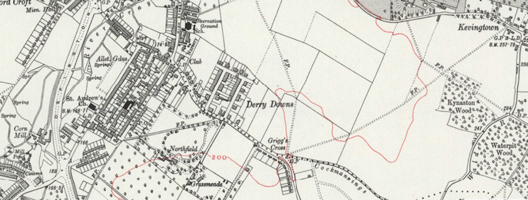Derry Downs on a 1930s OS map