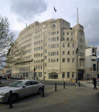 BBC Broadcasting House, at the junction of Portland Place and Langham Place