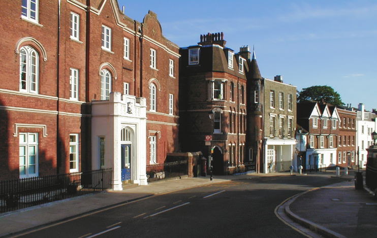 Harrow School buildings, looking down the hill on a sunny day