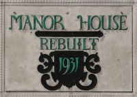 Manor House pub sign: 'Rebuilt 1931'