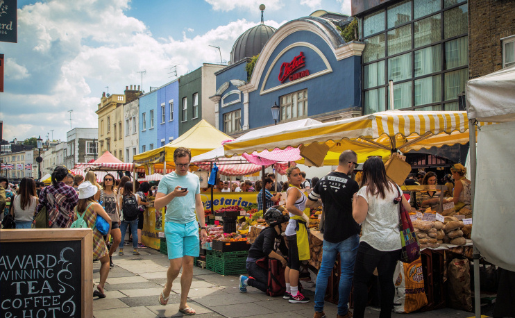 Portobello Market near Electric Cinema, August 2015