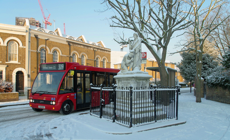 Hidden London: War memorial on St Leonard's Road in the snow by Matt Buck