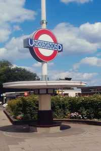 Hidden London: pole-mounted roundel, Oakwood station, by Julian Osley