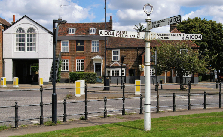 Hidden London: The Green in Old Southgate, with the Cherry Tree and Travelodge, by Christopher Hilton