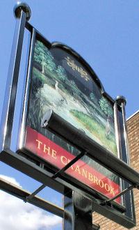 Hidden London: Cranbrook pub sign, showing the bird (and brook) that were the origin of its name