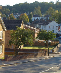 Little Roke Road: a view from its junction with the A22
