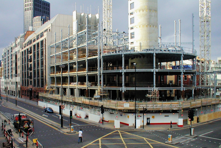 Hidden London: Aldersgate Street undergoing reconstruction, centred on the site of the former fire station