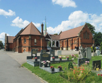 Hidden London: Pair of red-brick chapels linked by a wooden-framed porte cochère, Bandon Hill cemetery, by Robin Webster
