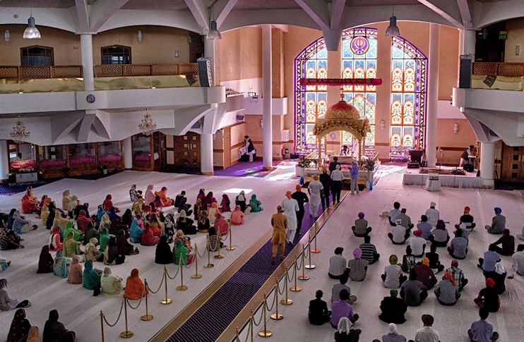 Hidden London: Interior of the Gurdwara Sri Guru Singh Sabha, viewed from the upper balcony