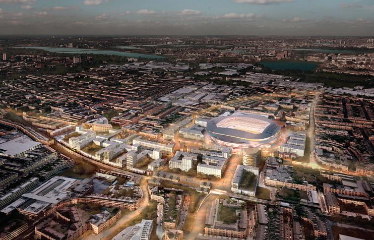 Hidden London: north Tottenham, late evening, aerial CGI