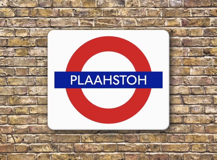 Hidden London: London stock brick wall with Plaahstoh sign