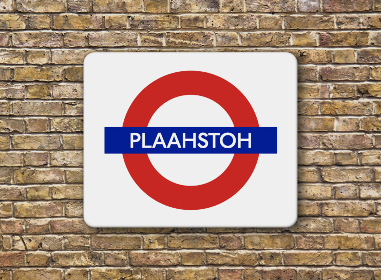 Hidden London: London stock brick wall with Plaahstoh sign