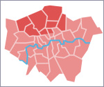 map showing North London, as Hidden London sees it for the purposes of this page