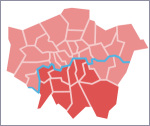 map showing South London, as defined by Hidden London for the purpose of this page