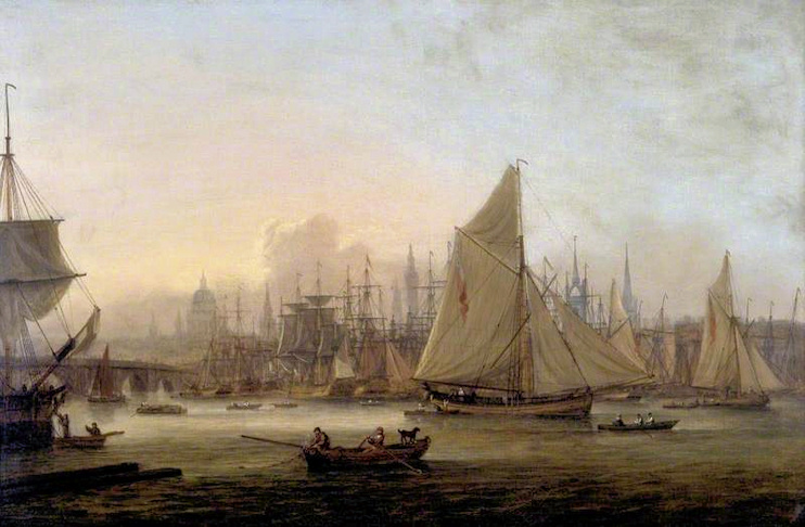 Hidden London: The Pool of London by Thomas Luny, early 19th century