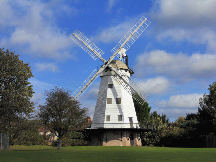 Hidden London: Upminster windmill seen from the Mill Field, by Richard Dunn