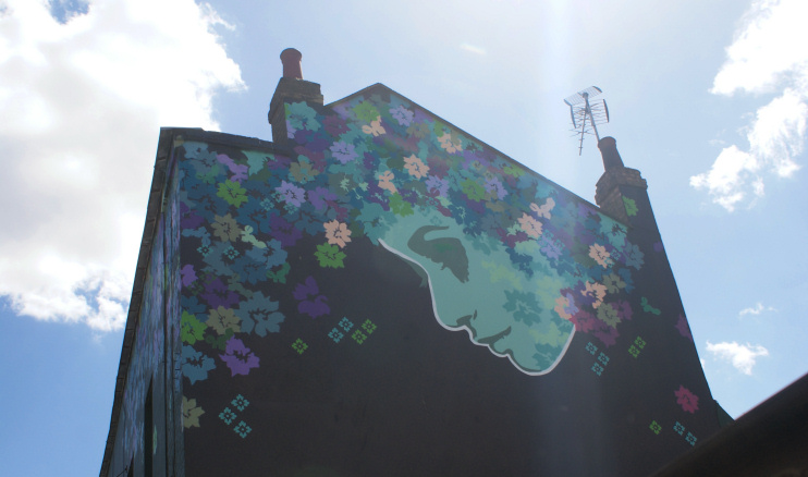 Hidden London: View of street art on the side of The Flower Pot pub from Wood Street, by Robert Lamb