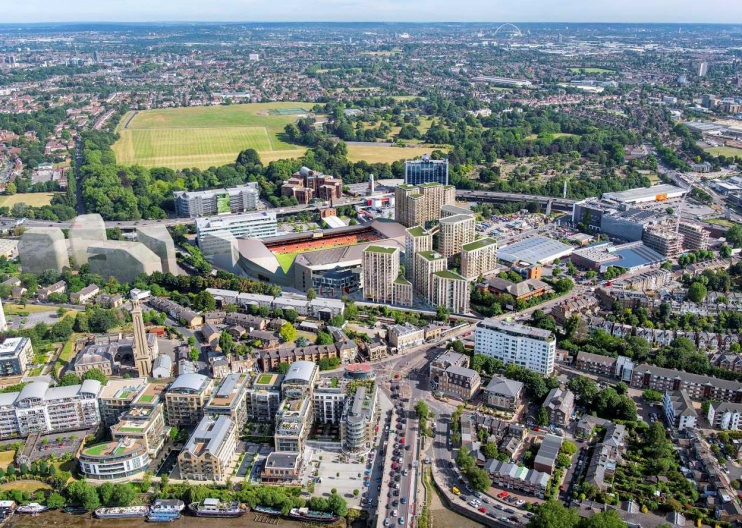 Hidden London: Developer's CGI vision of the Brentford community stadium and associated housing