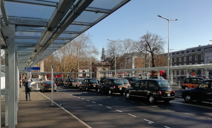 Hidden London: Euston Square taxi rank, photographed in February 2019