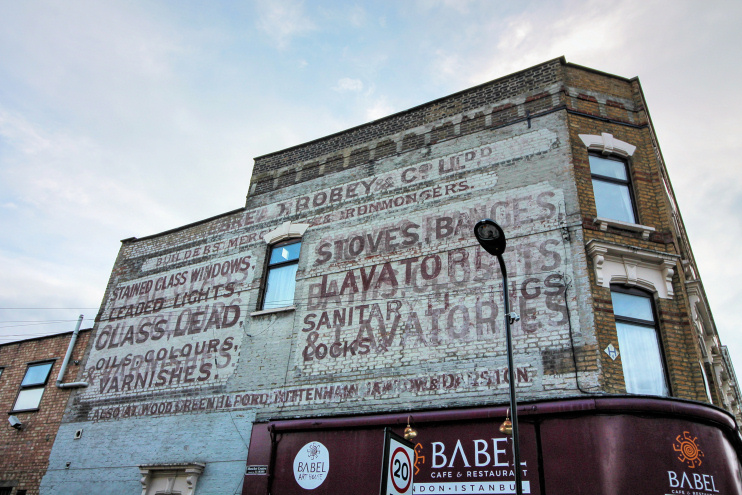 Hidden London: Stoke Newington - Babel restaurant amd ghost sign