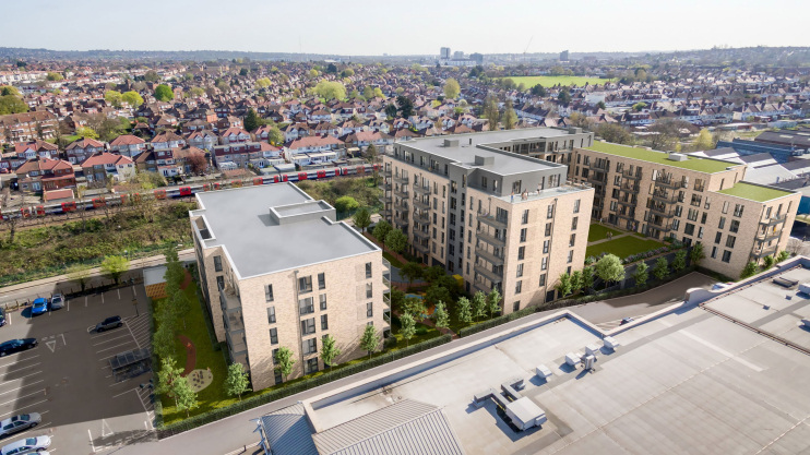 Queensbury Square: John Pardey Architects' CGI for Fairview New Homes
