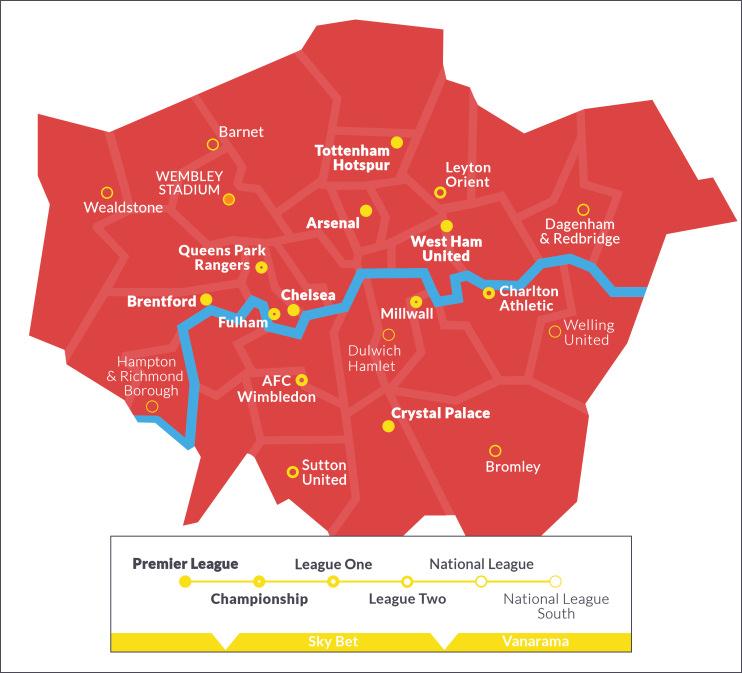 Hidden London: map of London football clubs' grounds for the 2021-22 season
